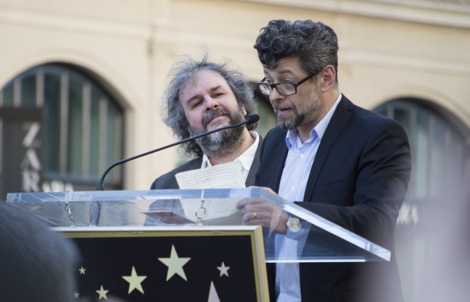 Andy Serkis giving a speech.