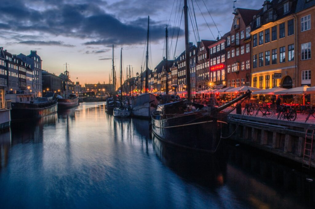 Nyhavn Copenhagen at Night by Christina Guan