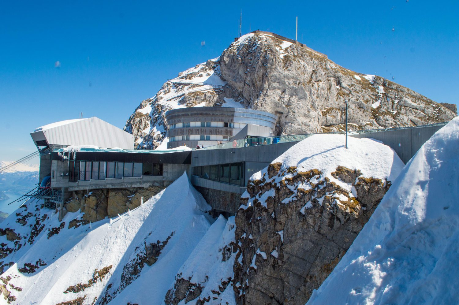 The visitor center on top of Mount Pilatus by Lake Lucerne