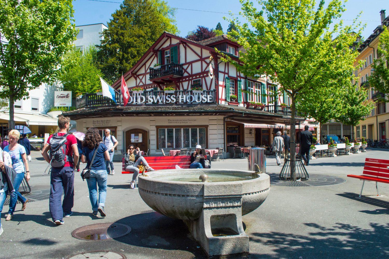 Tourists enjoying Old Town Lucerne