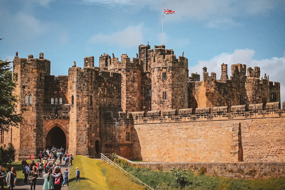 Alnwick Castle in Northumberland, England. Used in Harry Potter and the Philosopher's Stone