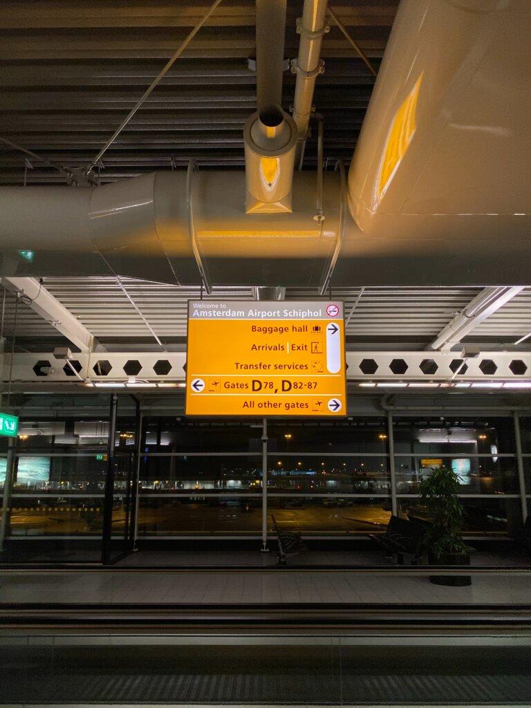 Amsterdam Schipol airport by night