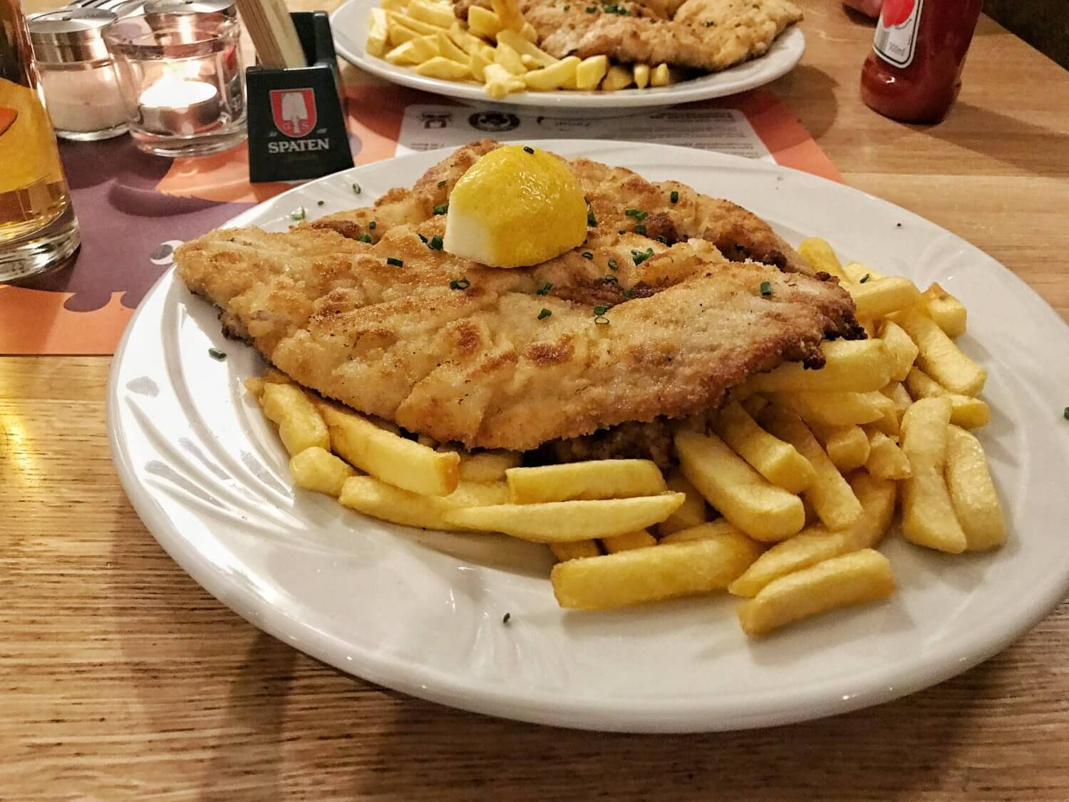 Giant schnitzels at Andy's Krablergarten