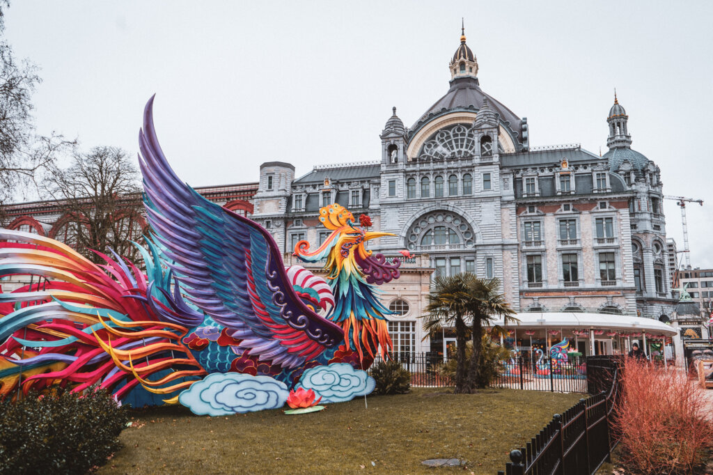 Colourful dragon installation at the Antwerp Zoo