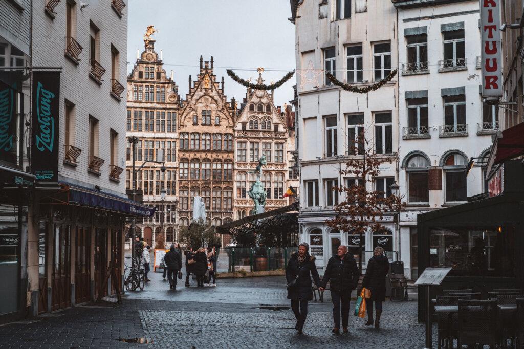Street near Grote Markt in Antwerp, Belgium