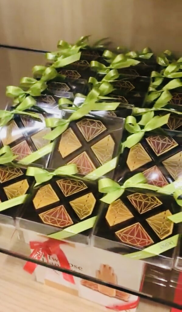 Diamond shaped chocolates being sold in an Antwerp chocolate shop