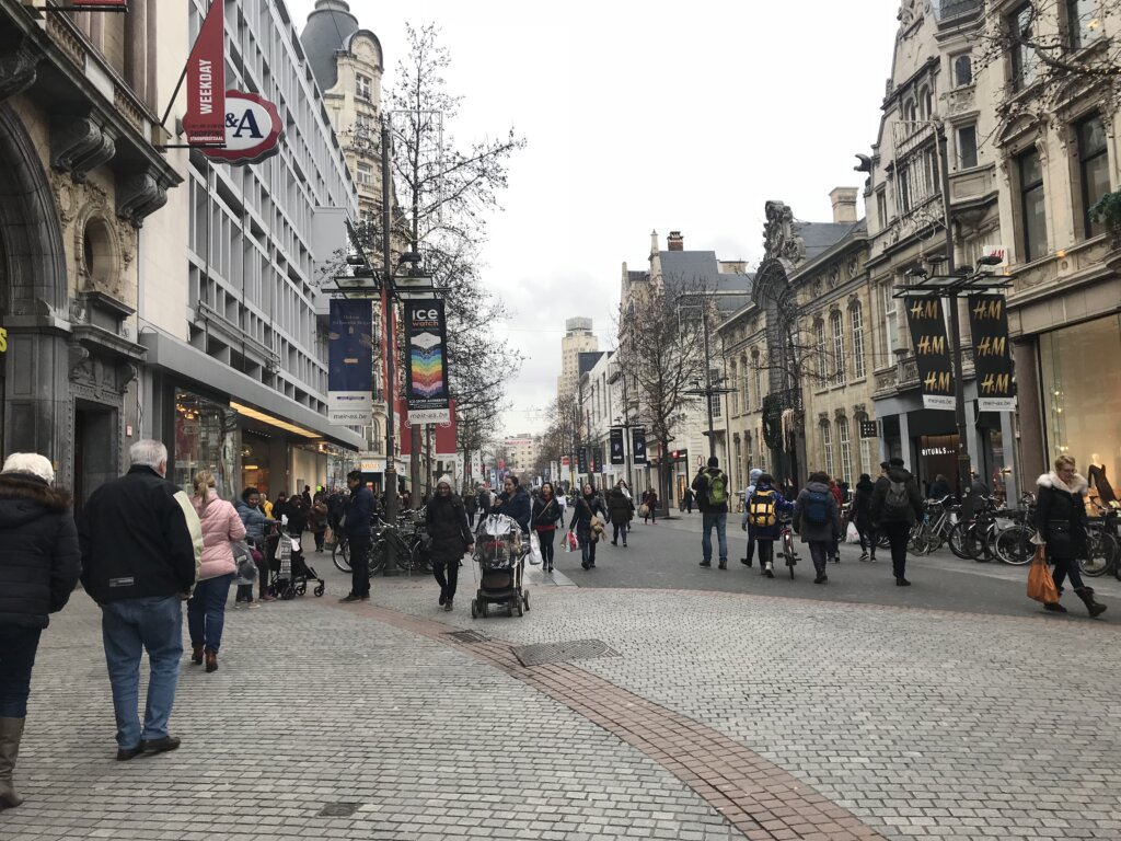 The Muir, the main shopping street in Antwerp Belgium