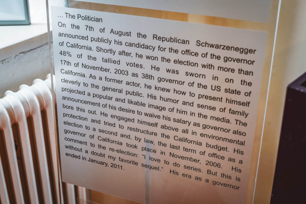 Information poster at the Arnold Schwarzenegger Museum in Thal, Austria