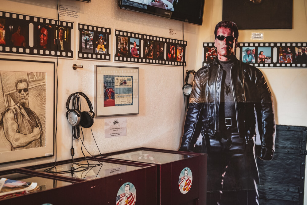The film career section at the Arnold Schwarzenegger Museum in Thal, Austria