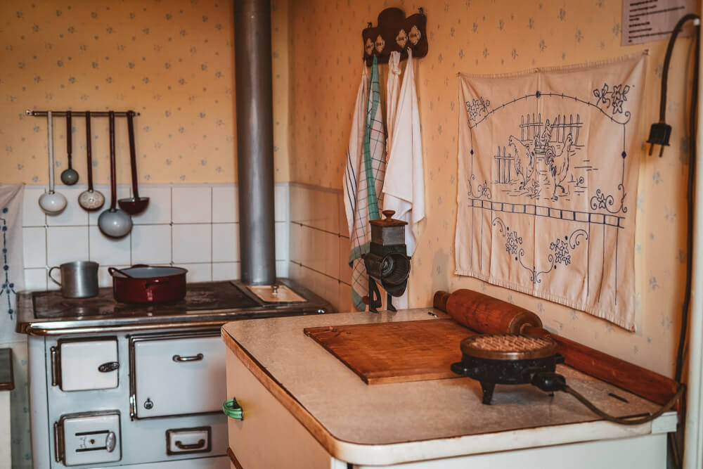 Original family kitchen at the Arnold Schwarzenegger Museum in Thal, Austria