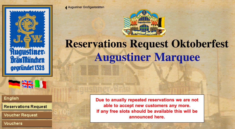 Augustiner Festhalle reservation page for Oktoberfest