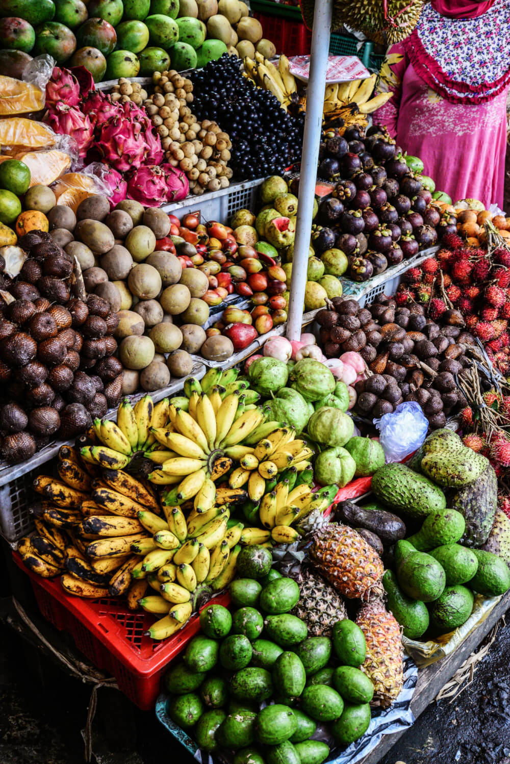 Local fruits and vegetables at a stall in Bali, Indonesia