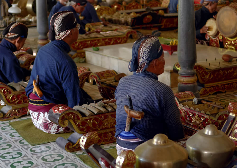 Gamelan performers in Indonesia