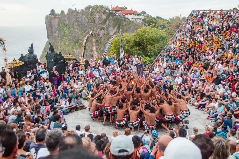 Dancers performing the Kecak Fire dance at Uluwatu Temple