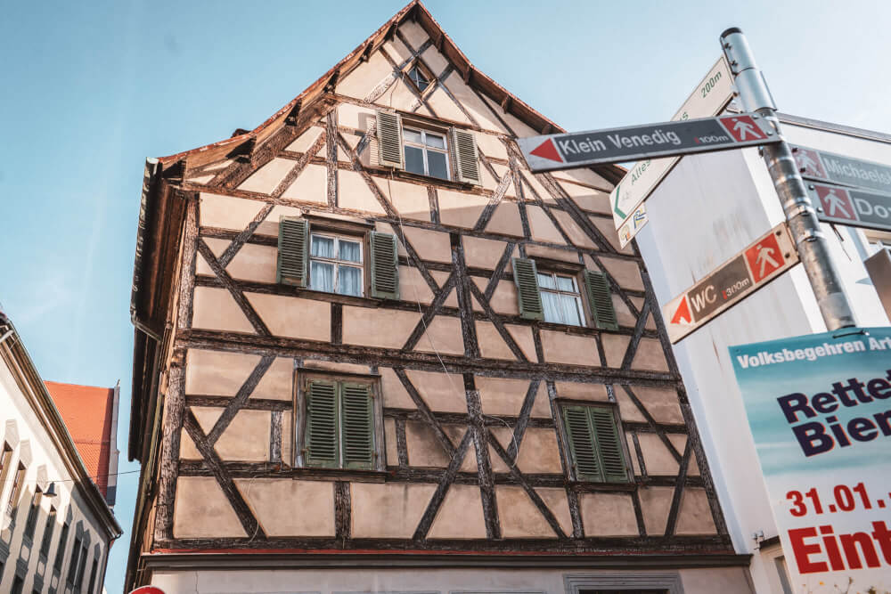 Cute half timbered building in Bamberg, Germany