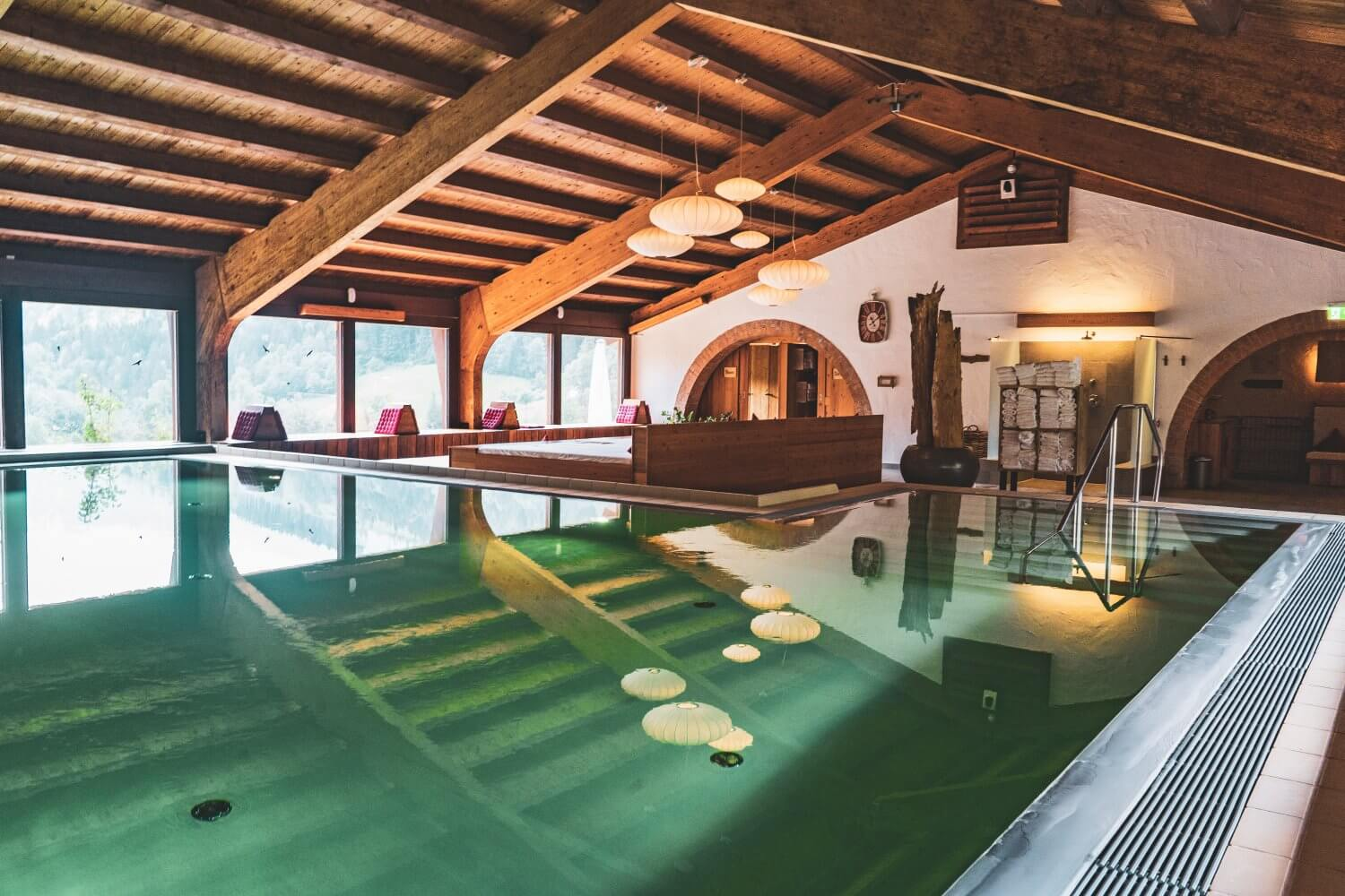 The dreamy indoor pool at Berghotel Rehlegg