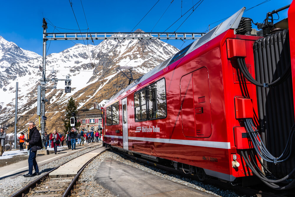 Red exterior of the Bernina Express train