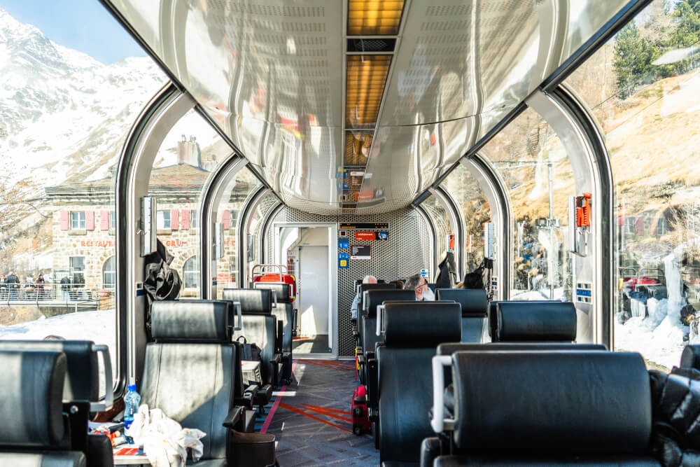Inside of the Bernina Express first class train