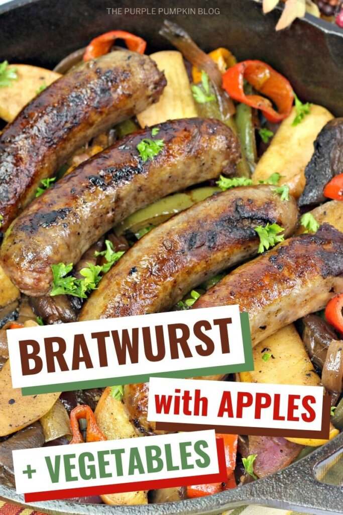 bratwurst with apples and veggies
