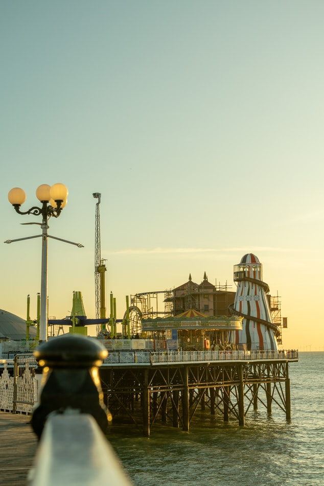 Sunset at the pier in Brighton, England.