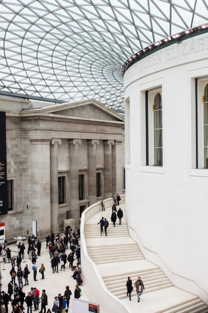 View of the British Museum in London with visitors walking around