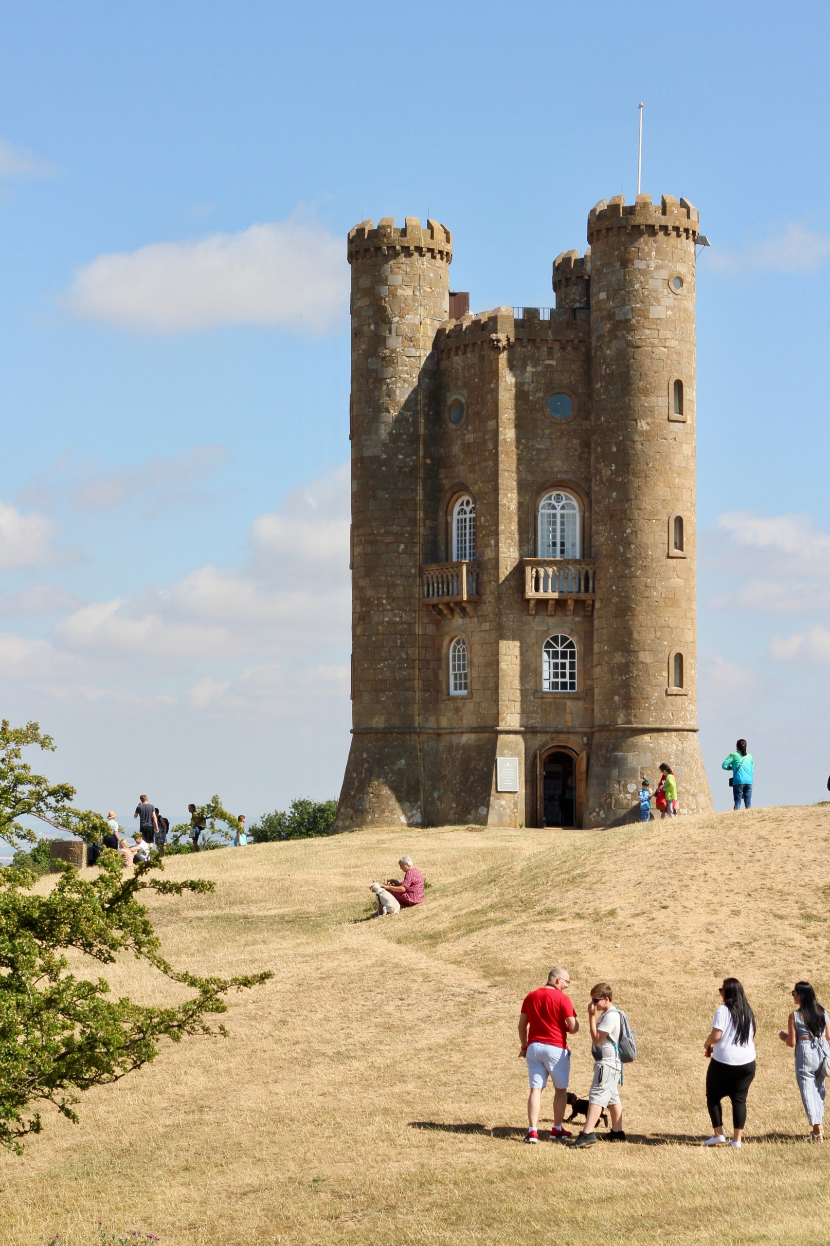 Tourists visiting Broadway Tower in the Cotswolds.