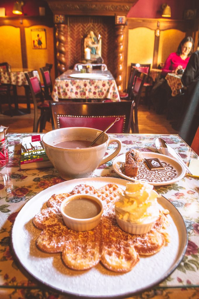 Hot chocolate and waffles at the Old Chocolate House in Bruges, Belgium