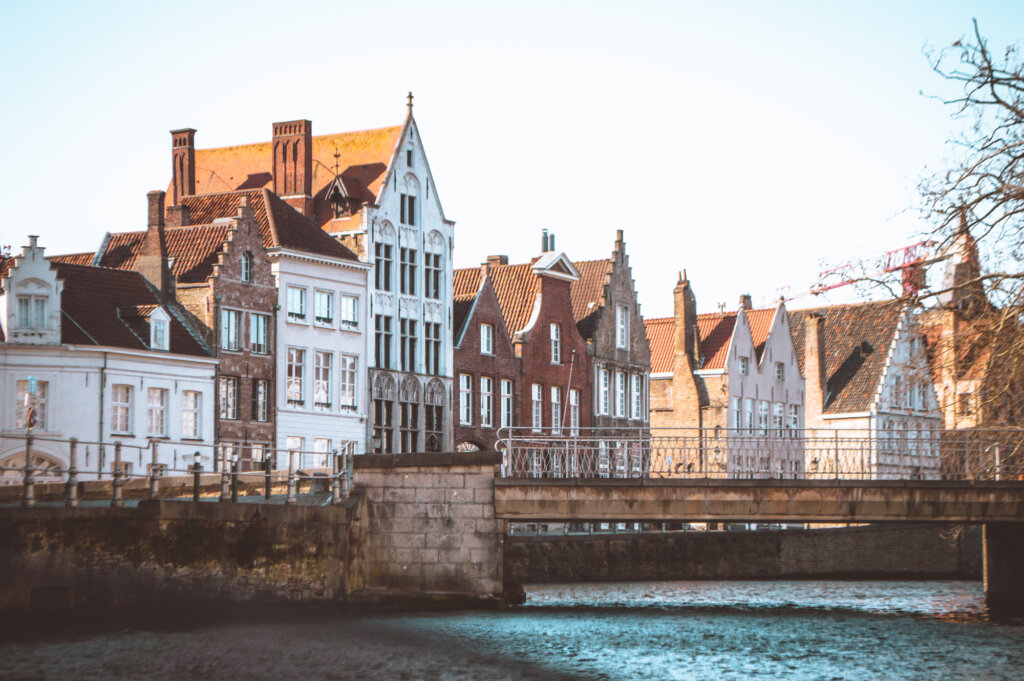 View of Bruges houses from the water