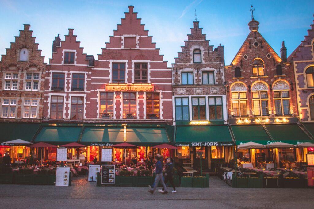 Market Square in Bruges at blue hour