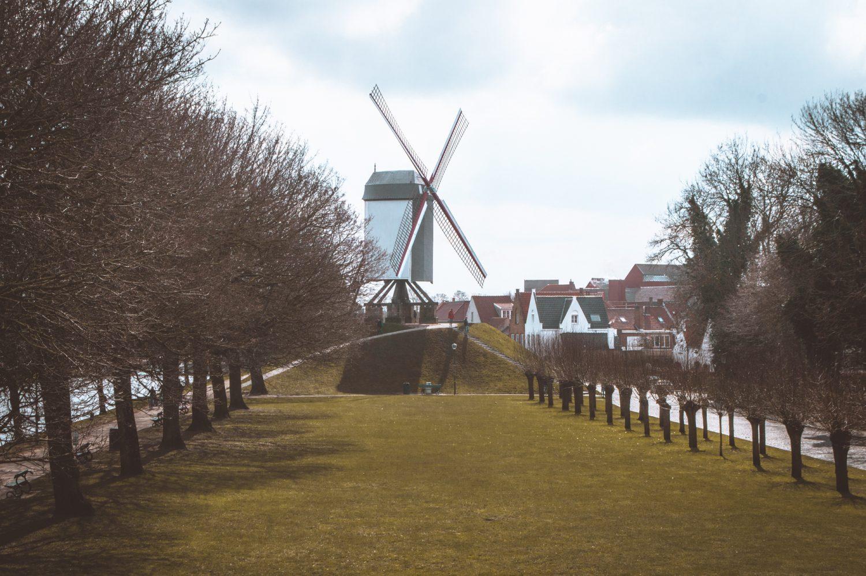 Old windmills in Bruges, Belgium