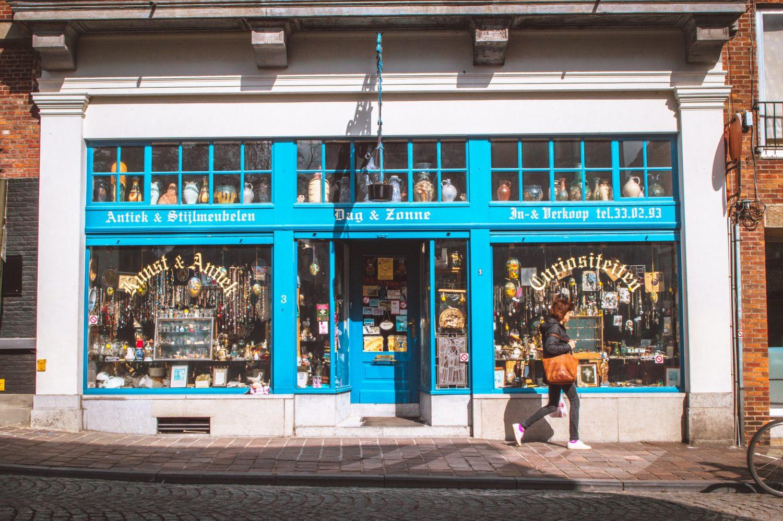 Antique shop storefront in Bruges, Belgium