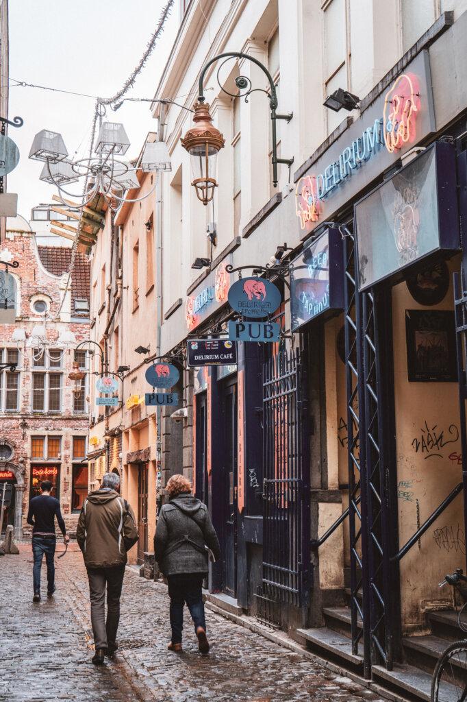 Exterior Delirium Cafe in Brussels, Belgium