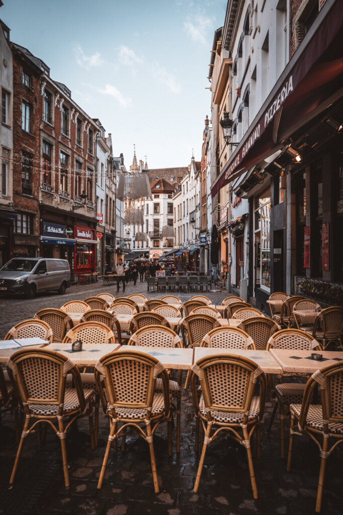 Terrace tables in Brussels, Belgium