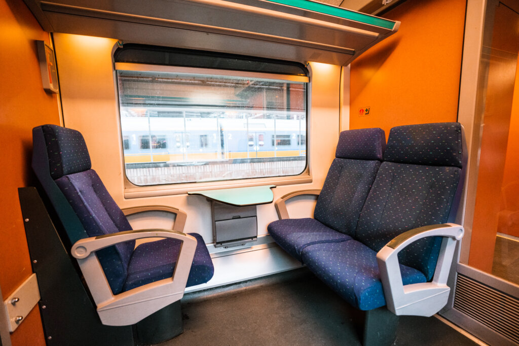 Inside a train carriage a Belgian train