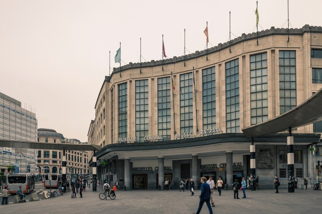 Cloudy day outside Brussels Central station
