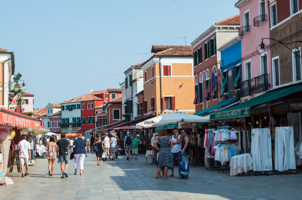 Busy street in Burano Italy