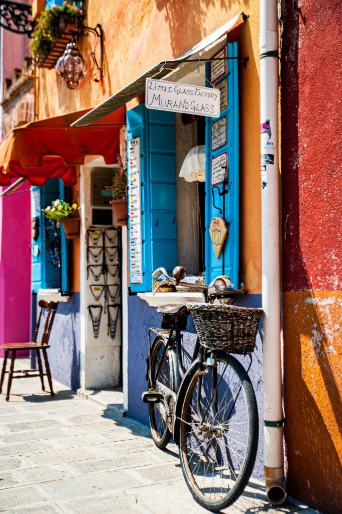 Murano glass shop in Burano, Italy