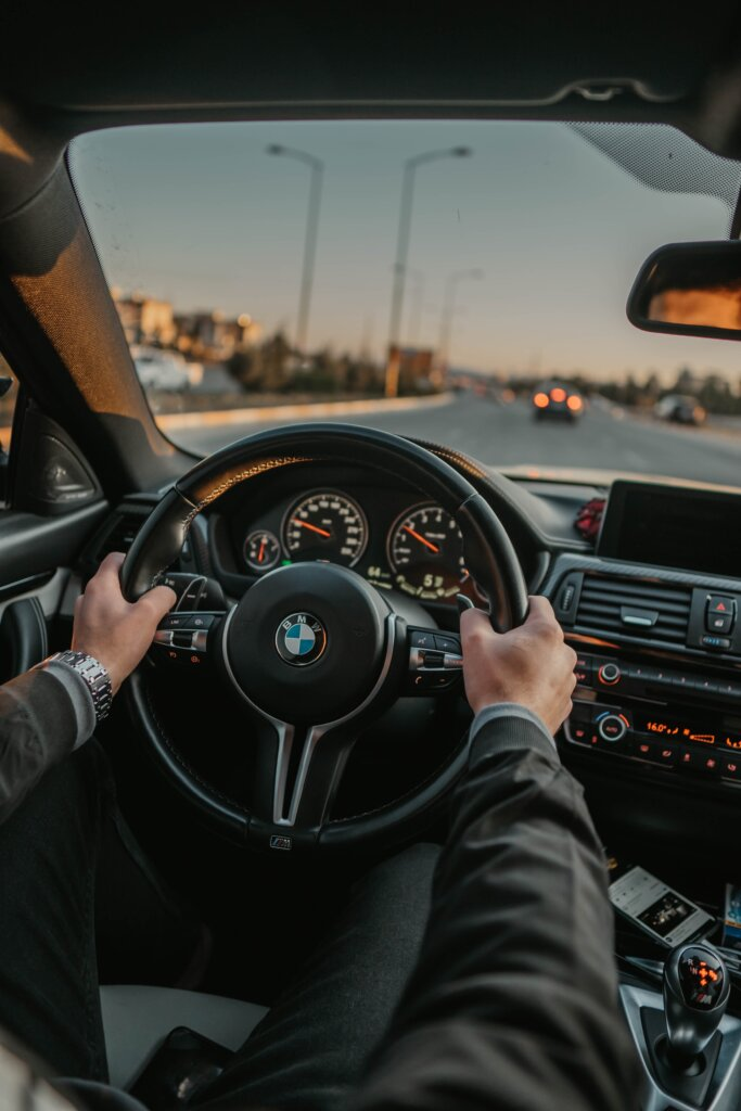 BMW car driving on the road