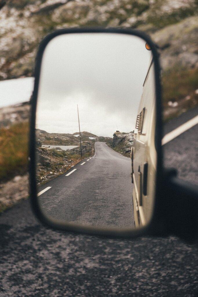 Car mirror on a Norweigan road