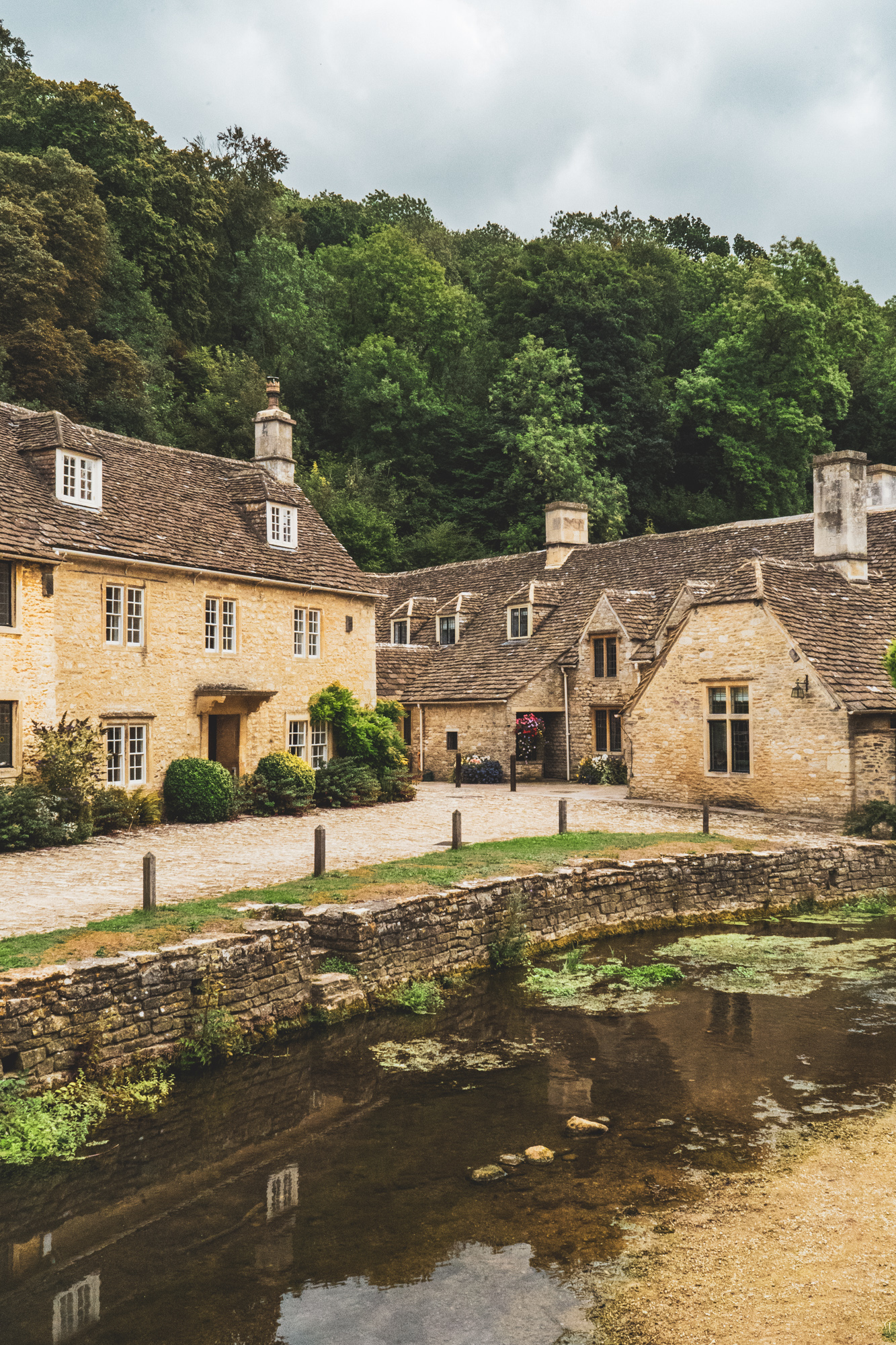 A beautiful row of houses in Castle Combe, England.