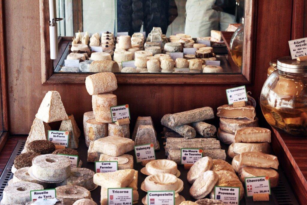 Cheeses on display in Paris