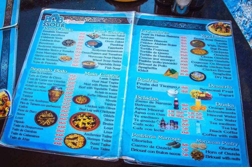 Moroccan restaurant menu
