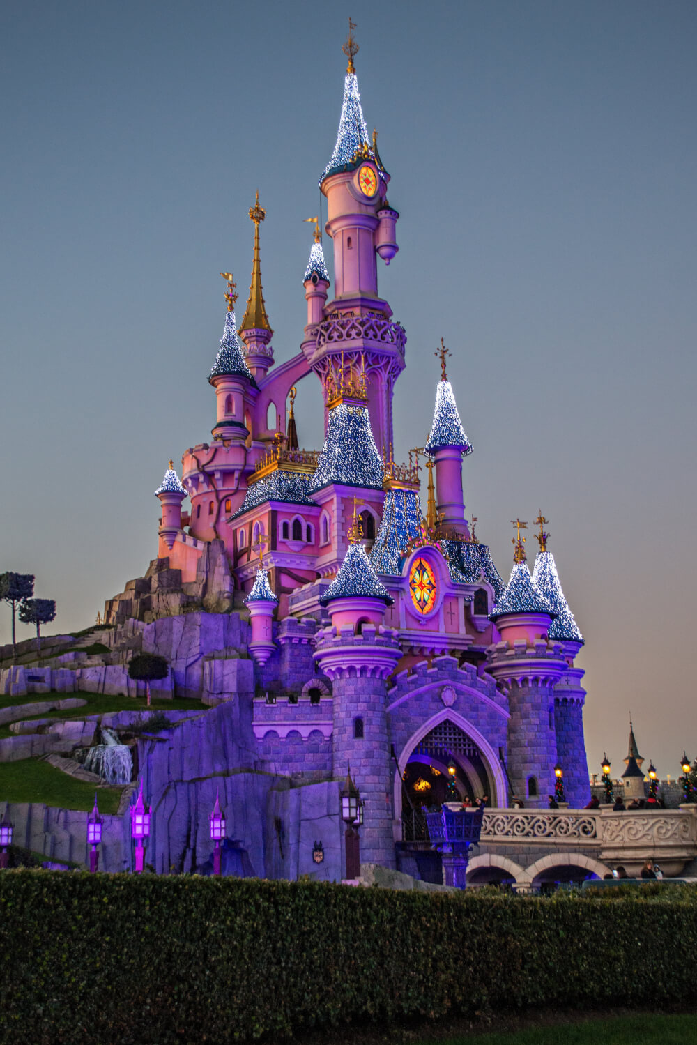 Christmas lights at the Disneyland Paris castle at Disneyland Park in Marne la Vallee, France