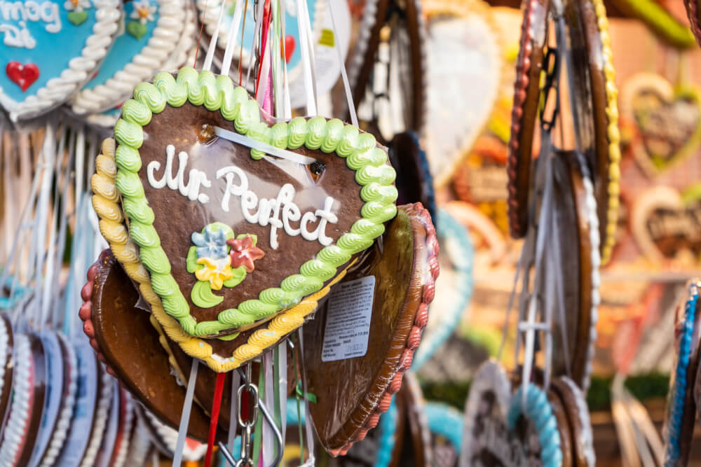 Gingerbread hearts on display at Oktoberfest in Munich, Germany.