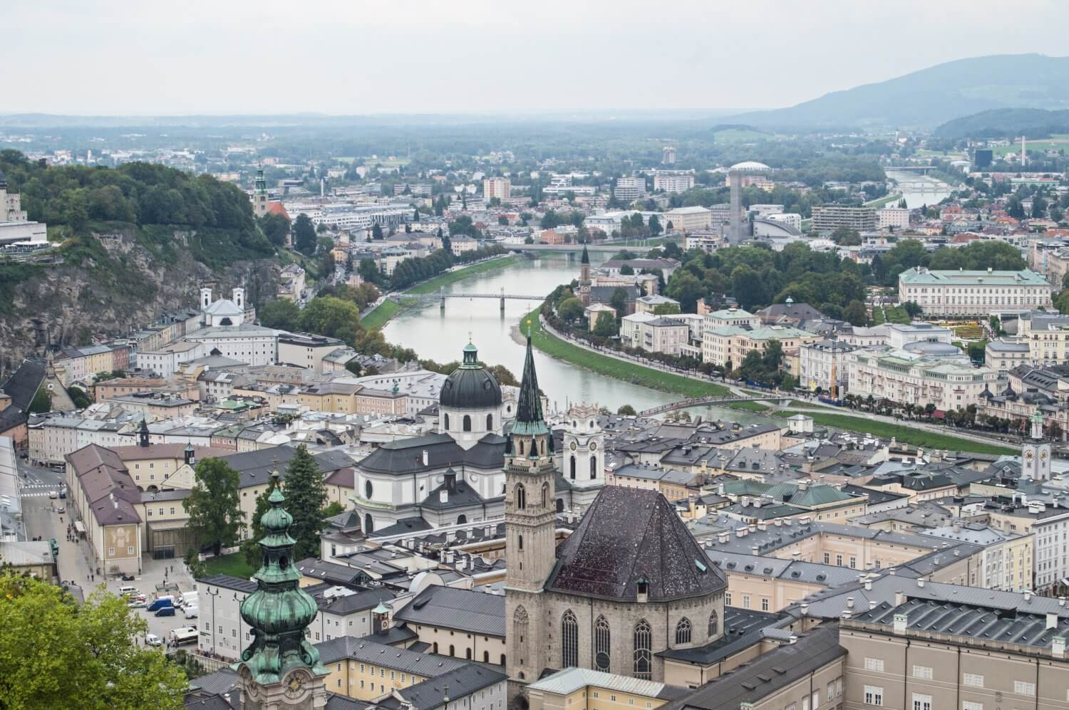 Beautiful view over Salzburg, Austria from Hohensalzburg Fortress