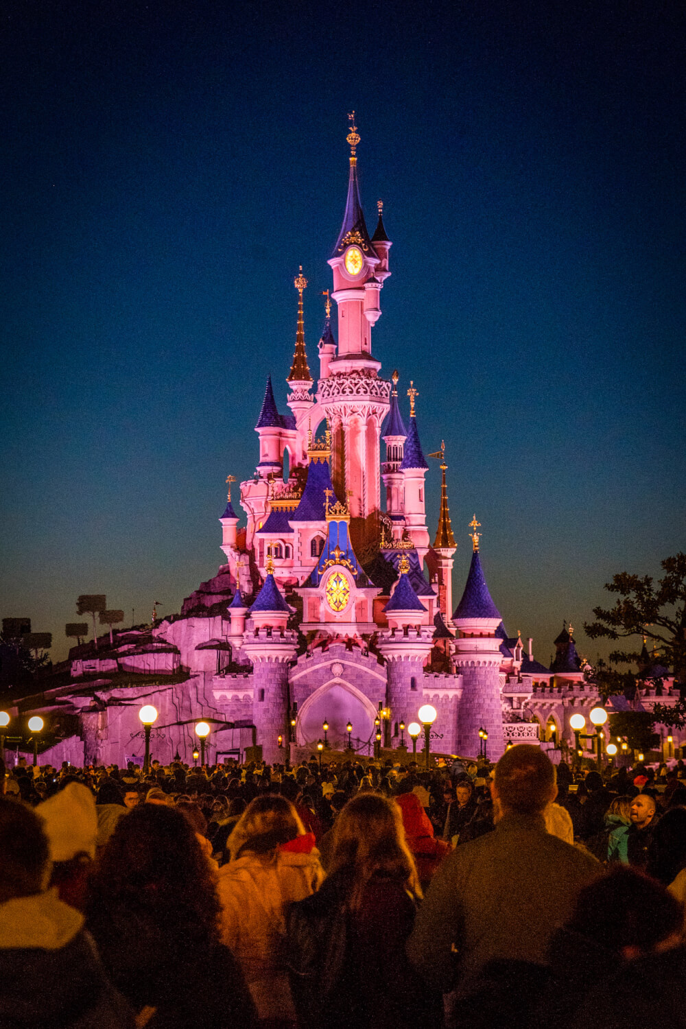 Sunset over the Disneyland Paris castle at Disneyland Park in Marne la Vallee, France
