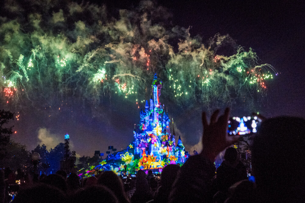 Disney illuminations at Disneyland Paris castle at Disneyland Park in Marne la Vallee, France