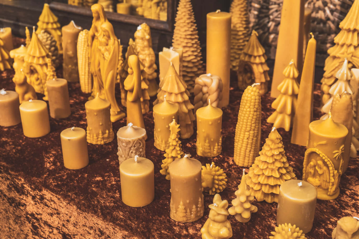 Carved candles at Dortmund Christmas Market