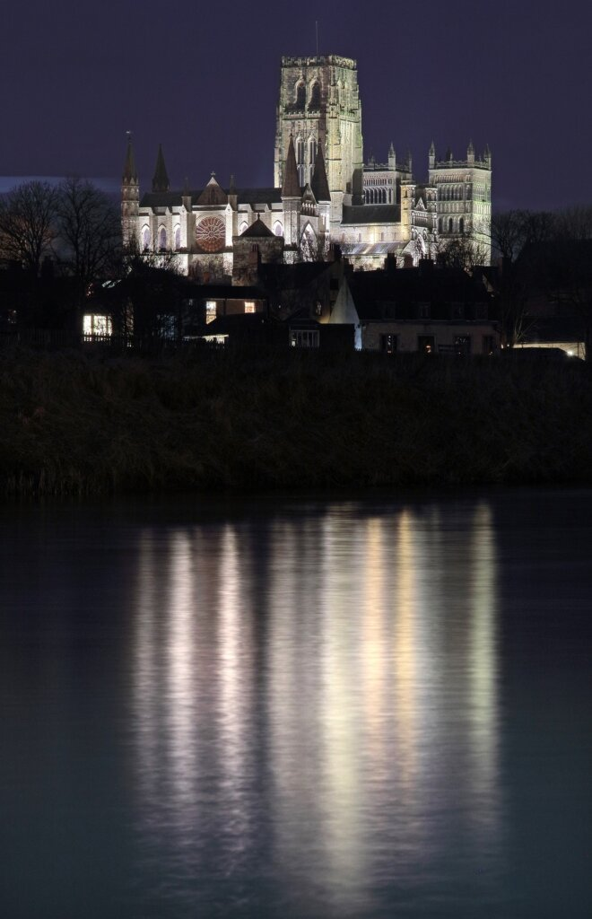 Durham Cathedral at night from the river