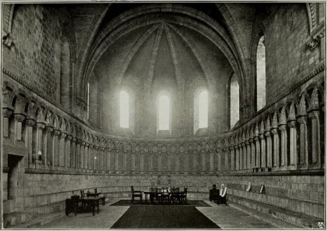 Old black and white public domain photo of the Durham Cathedral Chapter House